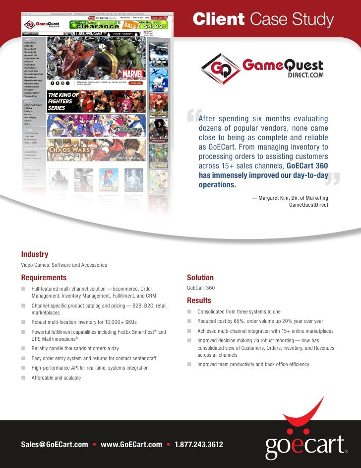 Case Study: GameQuest Re-Platforms from OrderMotion OMX and Yahoo to GoECart 360