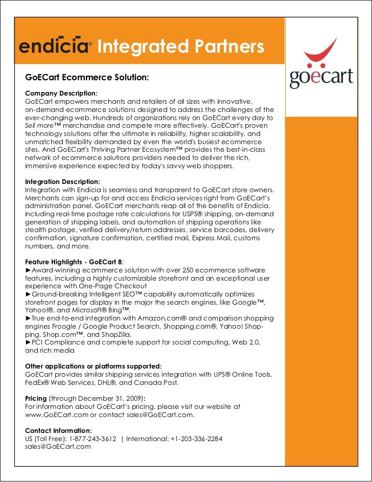 Integrated PartnersGoECart Ecommerce Solution:Company Description:GoECart empowers merchants and retailers of all sizes wi...