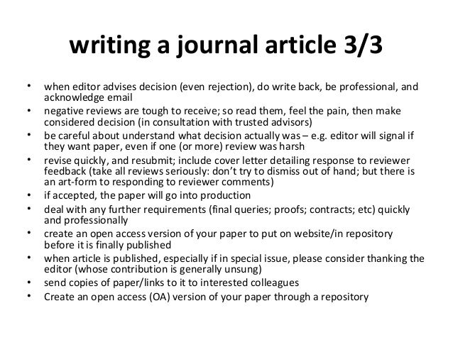 writing academic articles How to write a good title for journal articles writing the title takes just a fraction of the time you need to put  new ways of making academic articles easier to.