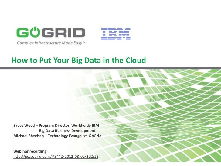 How to Put Your Big Data in the CloudBruce Weed – Program Director, Worldwide IBM             Big Data Business Developmen...
