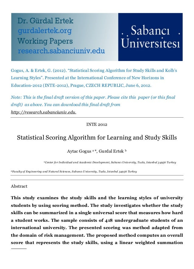 """Gogus, A. & Ertek, G. (2012). """"Statistical Scoring Algorithm for Study Skills and Kolb'sLearning Styles"""". Presented at the..."""