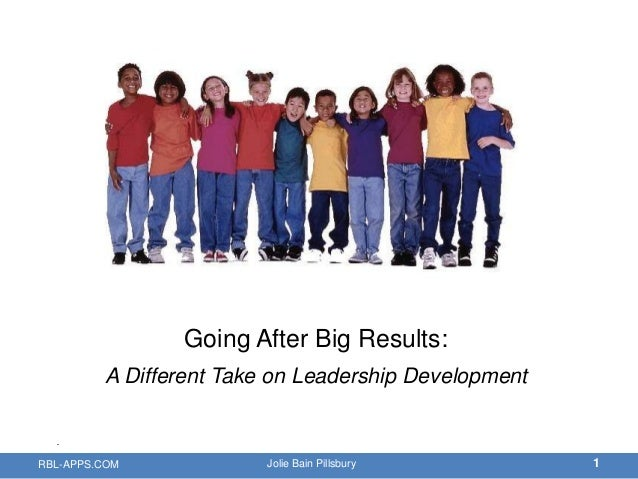 Going After Big Results:         A Different Take on Leadership DevelopmentRBL-APPS.COM             Jolie Bain Pillsbury  ...