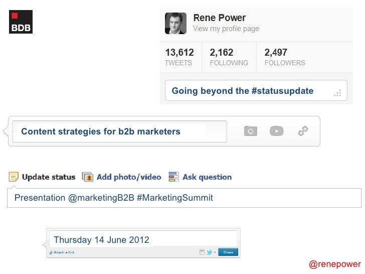 Going beyond the status update -  b2b marketing summit 14june12