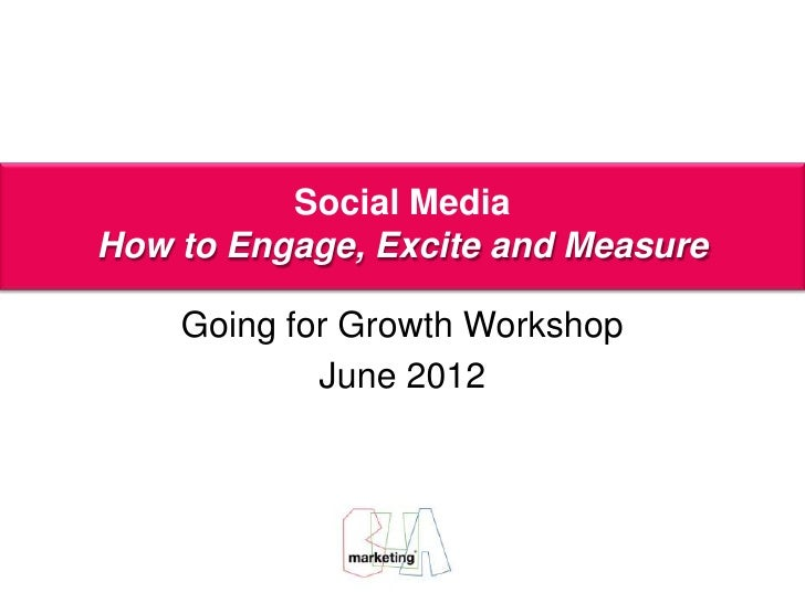 Social Media         AoifeExcite and MeasureHow to Engage,               Porter    Going for Growth Workshop            Ju...