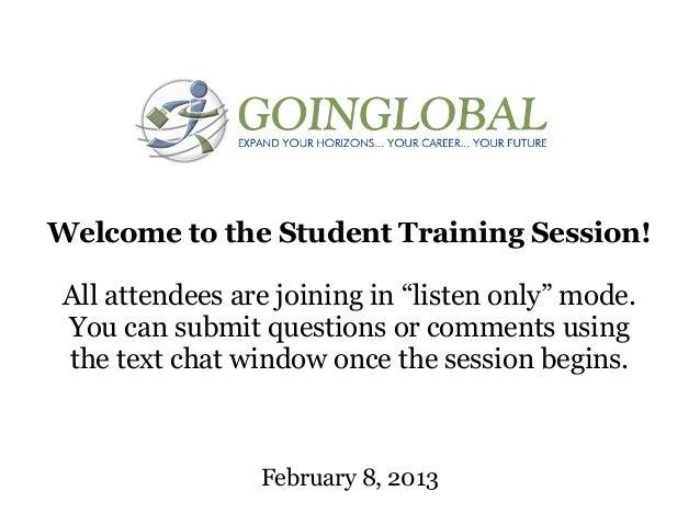 GoinGlobal Training - Feb 8 2013