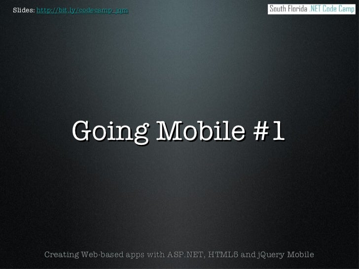 Going Mobile #1 - ASP.NET and jQuery Mobile
