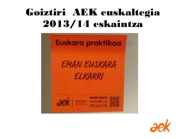 Goiztiri AEK euskaltegia 2013/14 eskaintza
