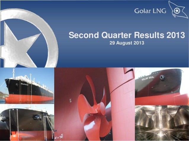 Golar LNG Q2 2013 results presentation