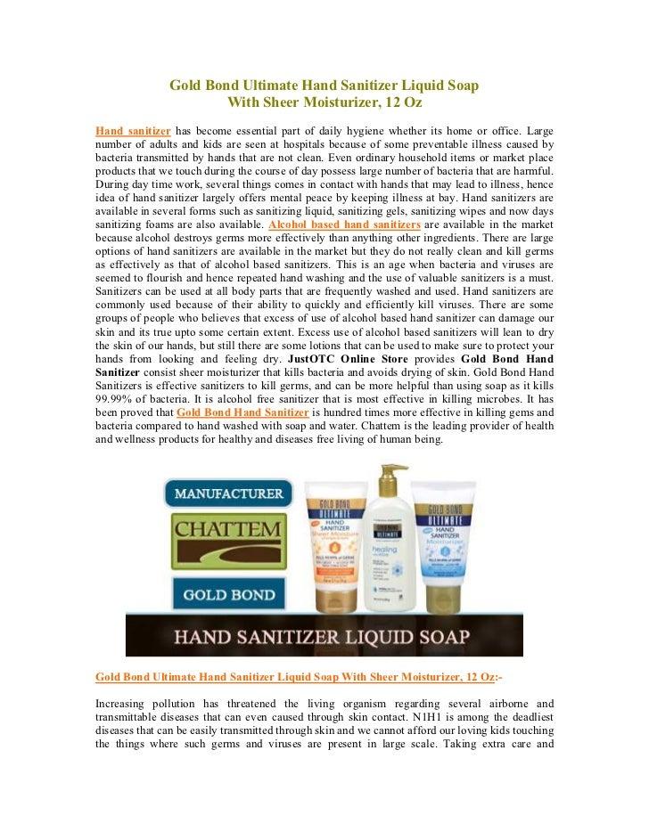 Gold Bond Ultimate Hand Sanitizer Liquid Soap                        With Sheer Moisturizer, 12 OzHand sanitizer has becom...