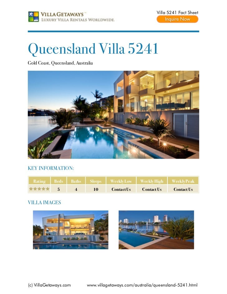 Villa 5241 Fact SheetQueensland Villa 5241Gold Coast, Queensland, AustraliaKEY INFORMATION:  Rating     Beds       Baths  ...
