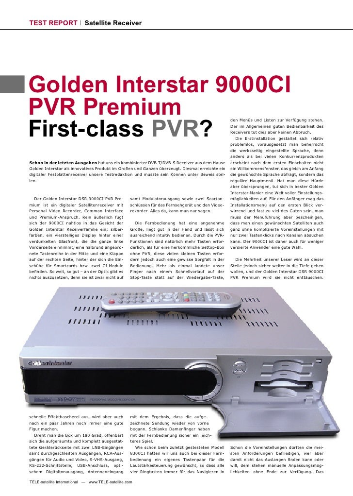 TEST REPORT                 Satellite Receiver     Golden Interstar 9000CI PVR Premium First-class PVR?                   ...