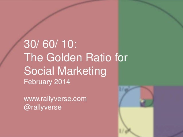 The Golden Ration for Every Social Marketer - 30/60/10