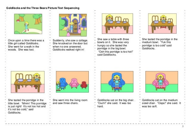 goldilocks and the three bears picture text sequencing once