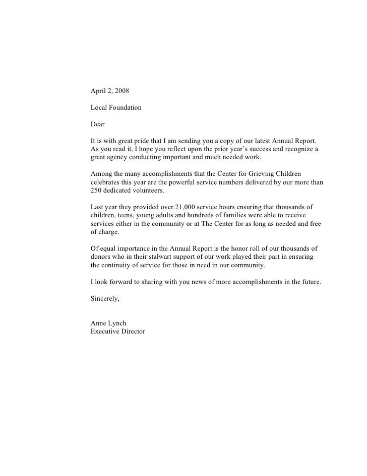 April 2, 2008  Local Foundation  Dear  It is with great pride that I am sending you a copy of our latest Annual Report. As...