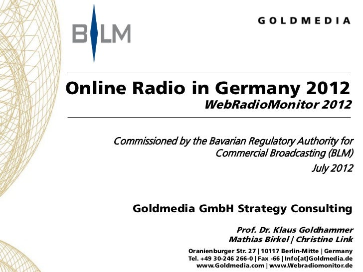 Web Radio Monitor 2012, study on online radio in Germany