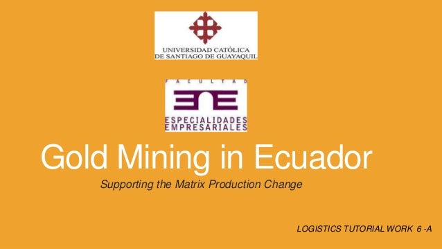 Gold Mining in Ecuador Supporting the Matrix Production Change  LOGISTICS TUTORIAL WORK 6 -A