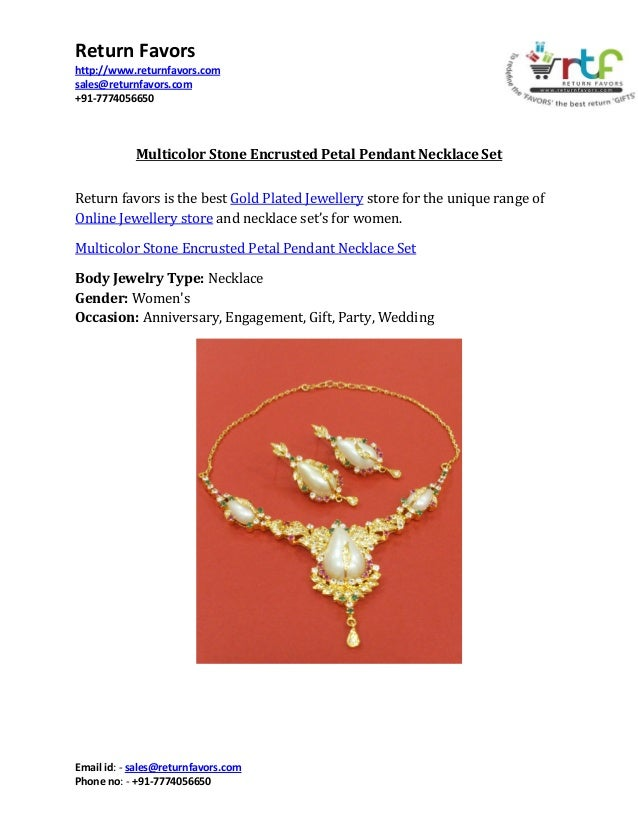 Return Favors http://www.returnfavors.com sales@returnfavors.com +91-7774056650  Multicolor Stone Encrusted Petal Pendant ...