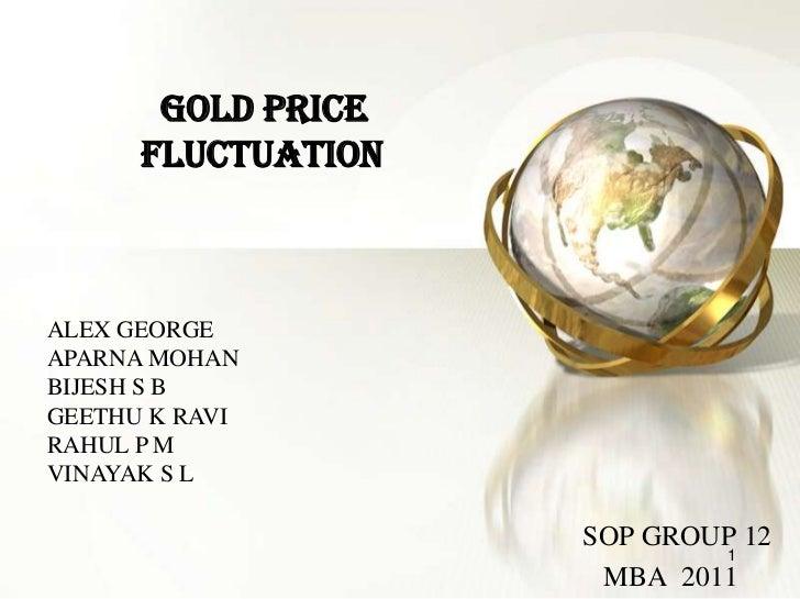 GOLD PRICE      FLUCTUATIONALEX GEORGEAPARNA MOHANBIJESH S BGEETHU K RAVIRAHUL P MVINAYAK S L                    SOP GROUP...