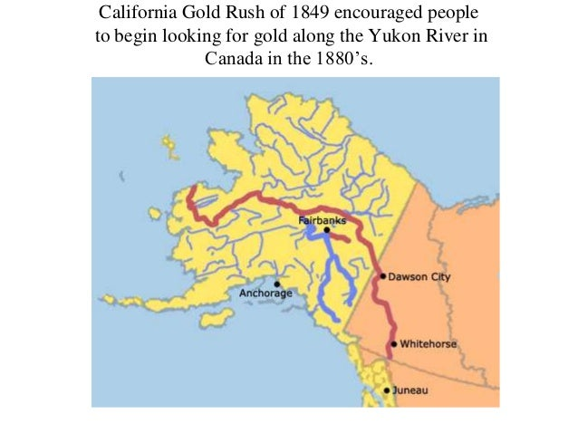 California Gold Rush of 1849 encouraged people to begin looking for gold along the Yukon River in Canada in the 1880's.  C...