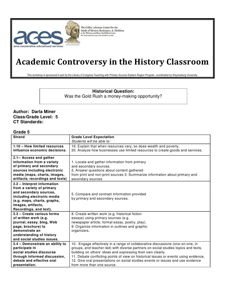 Academic Controversy in the History Classroom         This workshop is sponsored in part by the Library of Congress Teachi...