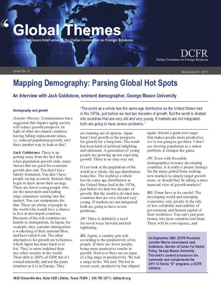 Mapping Demography: Global Hot Spots