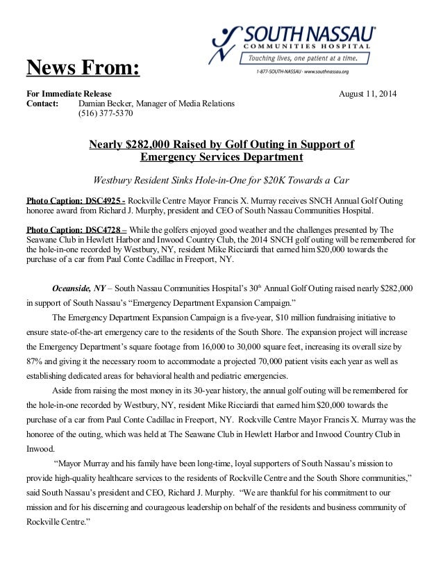 News From: For Immediate Release August 11, 2014 Contact: Damian Becker, Manager of Media Relations (516) 377-5370 Nearly ...