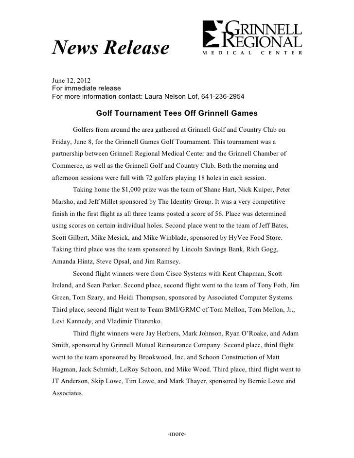 Grinnell Games Golf Tournament 2012 results