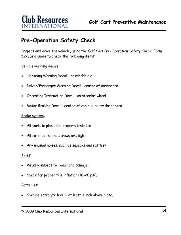 Golf Cart Preventive Maintenance