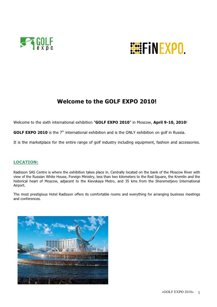 """Welcome to the GOLF EXPO 2010!   Welcome to the sixth international exhibition """"GOLF EXPO 2010"""" in Moscow, April 9-10, 201..."""
