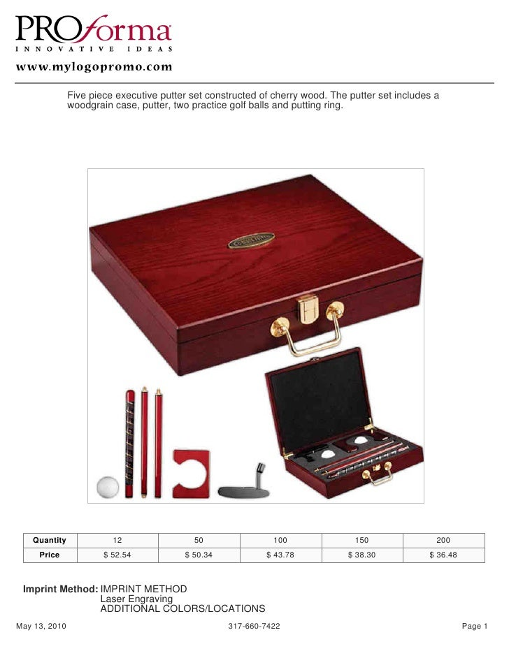 Five piece executive putter set constructed of cherry wood. The putter set includes a                woodgrain case, putte...