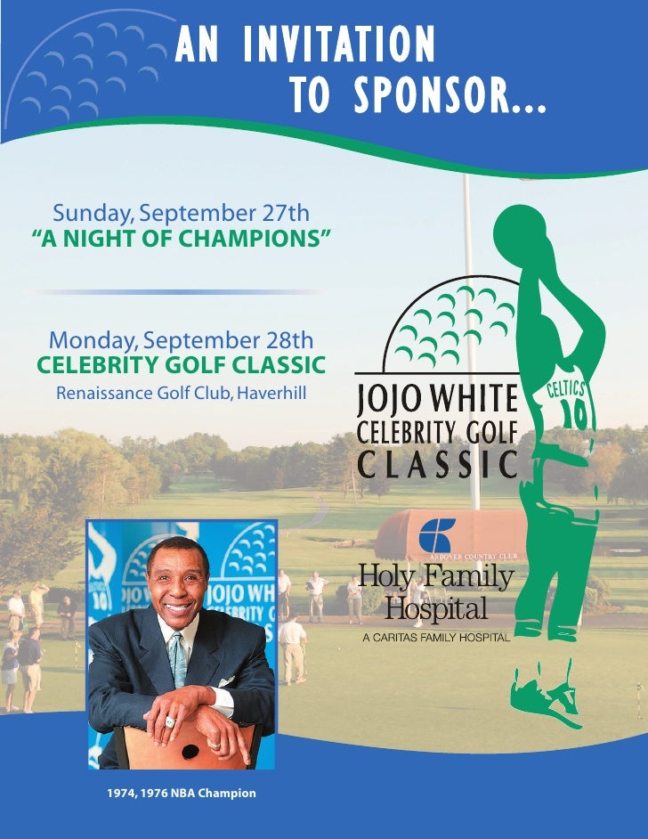 """AN INVITATION                       TO SPONSOR...    Sunday, September 27th """"A NIGHT OF CHAMPIONS""""     Monday, September 2..."""
