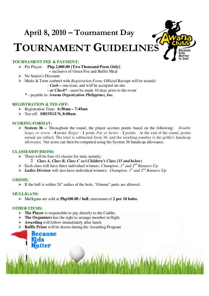 Golf Tournament Logo Golf Tournament Guidelines
