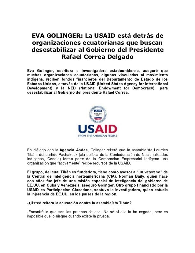 EVA GOLINGER: La USAID está detrás de  organizaciones ecuatorianas que buscan  desestabilizar al Gobierno del Presidente  ...