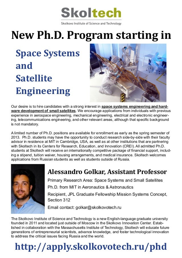 Looking for PhD students for the Stategic Innovations Research Group (specializing in Space Engineering and Satellite Systems)