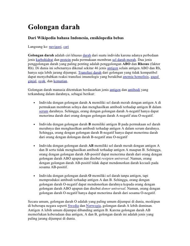 Golongan darah Dari Wikipedia bahasa Indonesia, ensiklopedia bebas  Langsung ke: navigasi, cari  Golongan darah adalah cir...