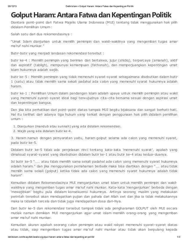 20/12/13  Detik Islam » Golput Haram: Antara Fatwa dan Kepentingan Politik  Golput Haram: Antara Fatwa dan Kepentingan Pol...