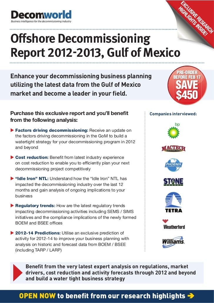 Decommissioning Report, 2012-13, Gulf of Mexico