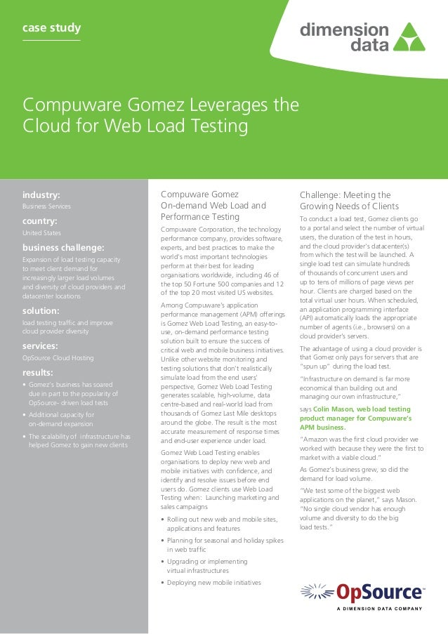 Compuware Gomez Leverages the Cloud for Web Load Testing