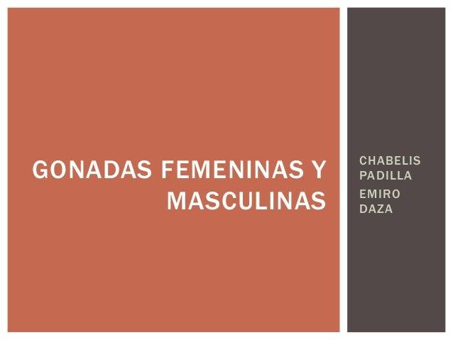 CHABELIS  PADILLA  EMIRO  DAZA  GONADAS FEMENINAS Y  MASCULINAS