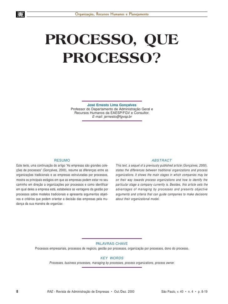 Organização, Recursos Humanos e Planejamento                     PROCESSO, QUE                       PROCESSO?            ...