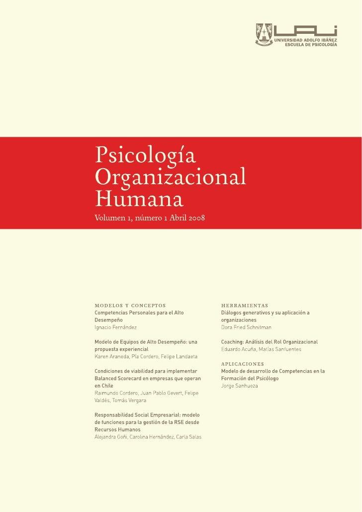 Psicología Organizacional Humana Volumen 1, Número 1, Abril 2008     Artículos modelos y conceptos    Competencias Persona...