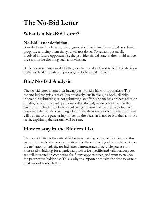Bid Cover Letter | Resume Cv Cover Letter