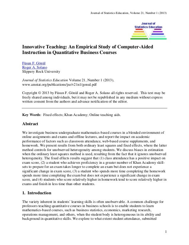 Journal of Statistics Education, Volume 21, Number 1 (2013)  Innovative Teaching: An Empirical Study of Computer-Aided Ins...