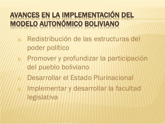 AVANCES EN LA IMPLEMENTACIÓN DEL MODELO AUTONÓMICO BOLIVIANO a. Redistribución de las estructuras del poder político b. Pr...