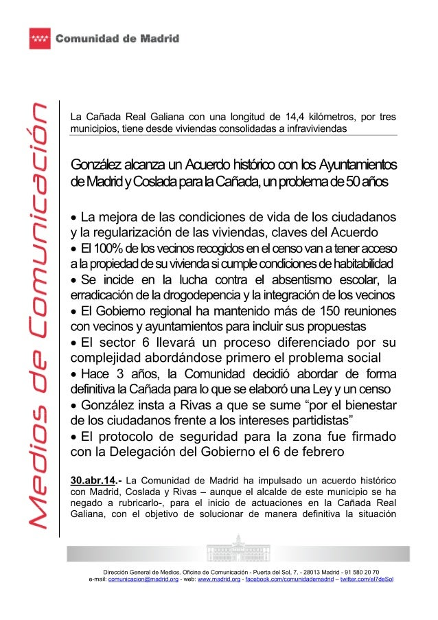 González alcanza un acuerdo histórico con los ayuntamientos de madrid y coslada para la cañada, un problema de 50 años