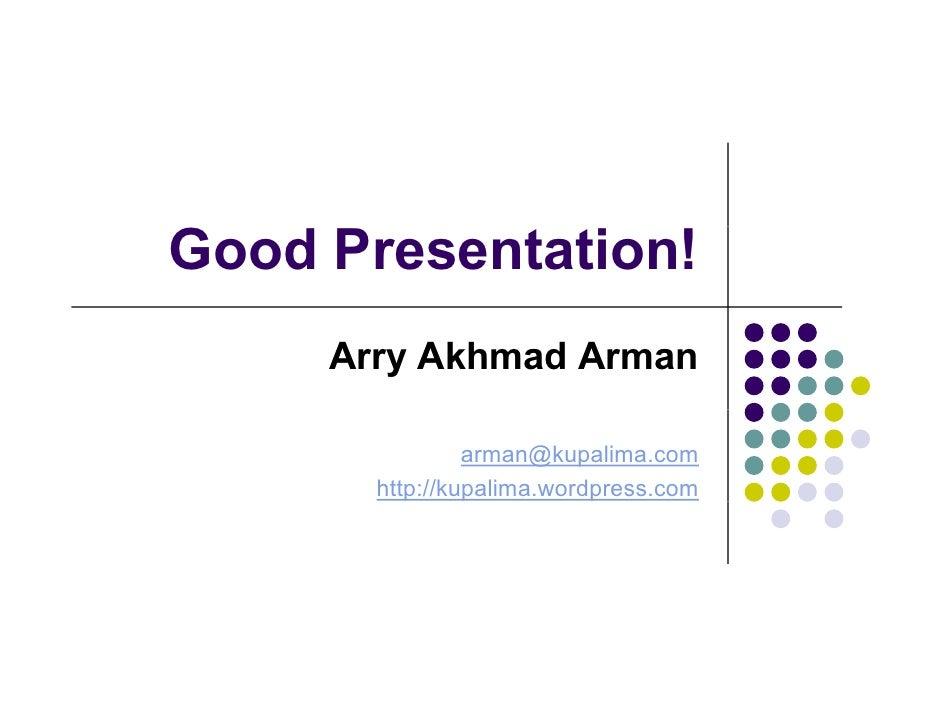 Good presentation!