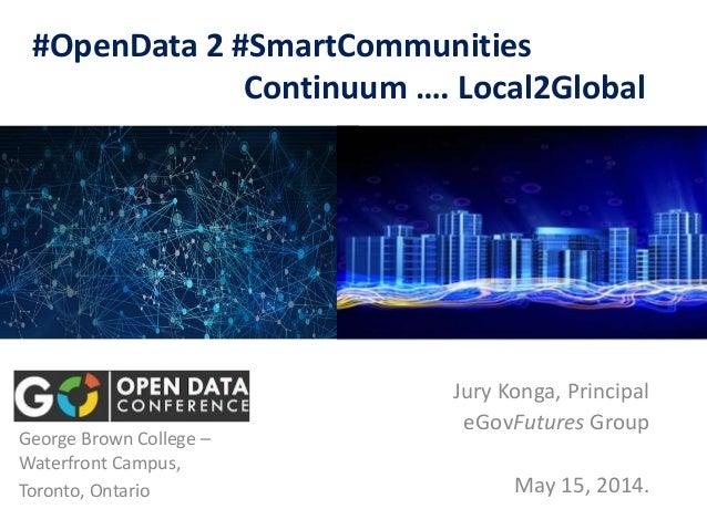 #OpenData 2 #SmartCommunities Continuum …. Local2Global Jury Konga, Principal eGovFutures Group May 15, 2014. George Brown...