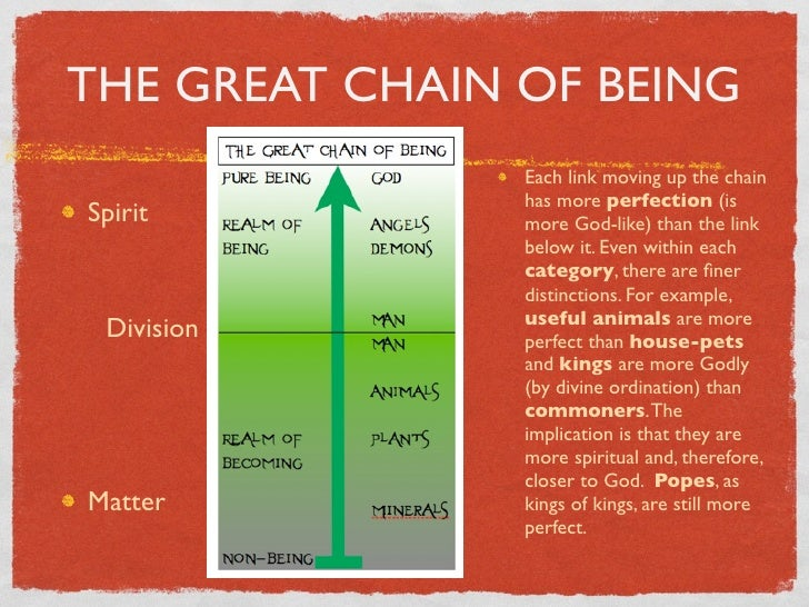 an essay on man great chain of being What is the point of the essay i know the theme is that humans can use reason to discover the hierarchical arrangement of society, but for what is it to create this arrangement in our own society, or to be pleased with where we are in the &quotgreat chain of being&quot.