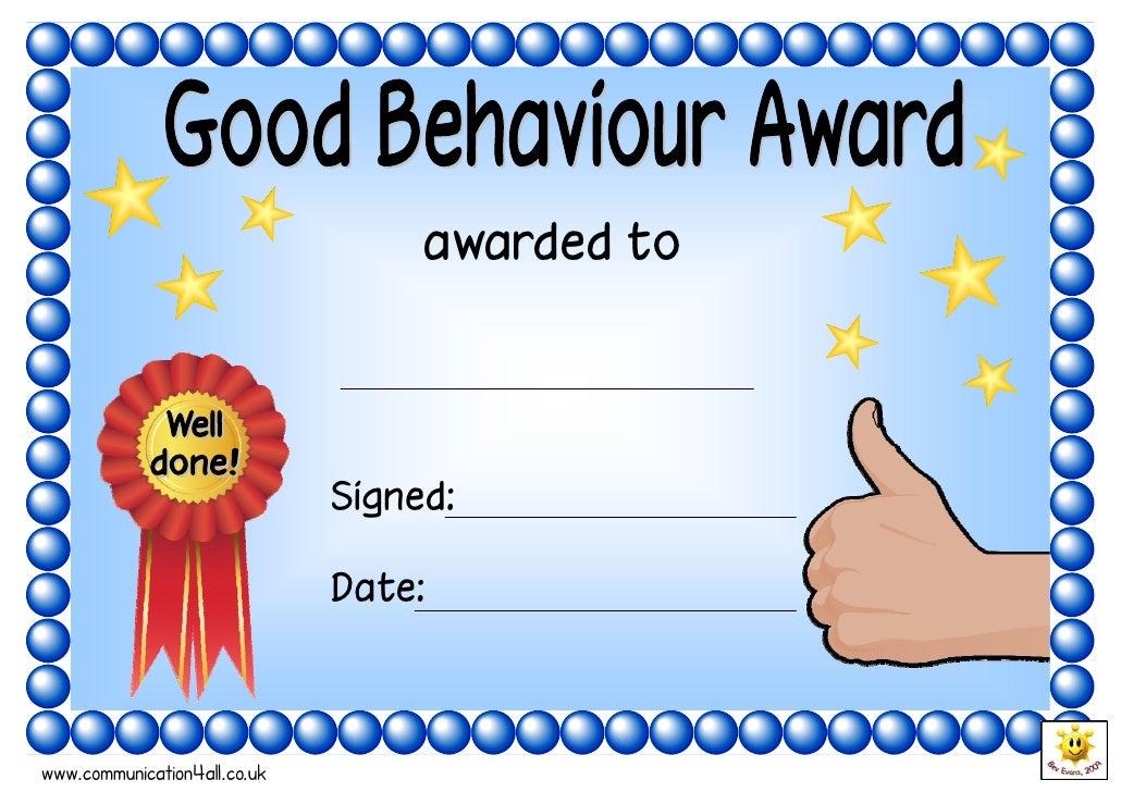 Pics Photos - Good Behavior Certificate For Kids