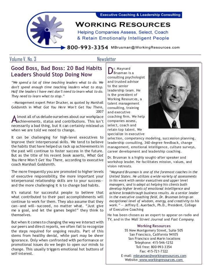 Volume V, No. 3                                     NewsletterGood Boss, Bad Boss: 20 Bad HabitsLeaders Should Stop Doin...